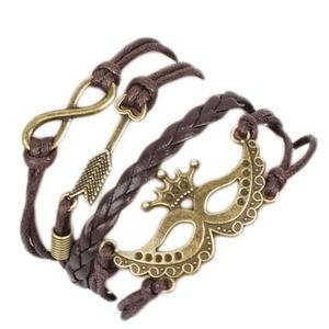 Jewelry - Crown Mask Arrow Infinity Leather Charm Bracelet